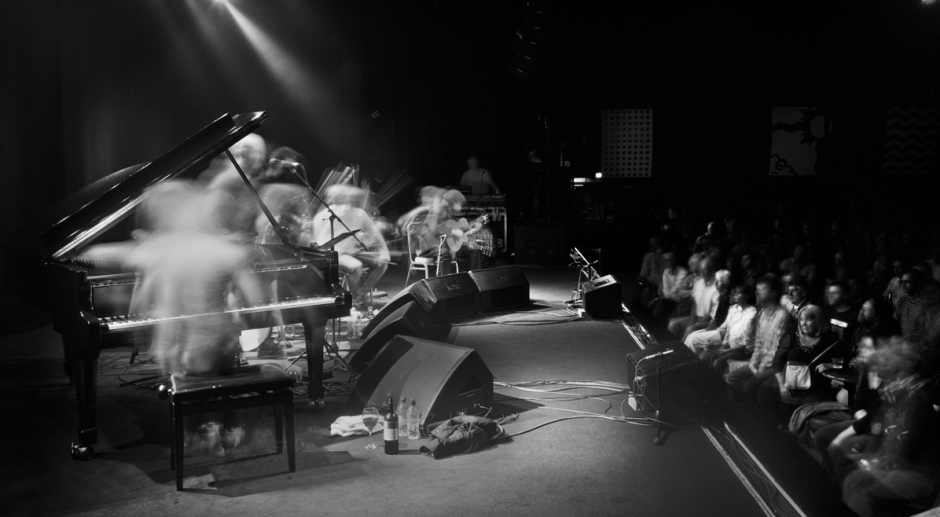 The Gloaming in concert in Vicar Street in May 2012, shot in long exposure by Hugh McCabe