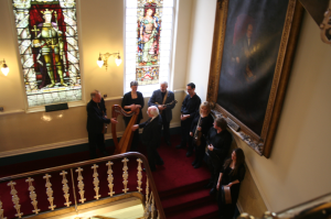 President Higgins being welcomed to Freemasons' Hall by the DIT Conservatory Trad Ensemble to launch the Encyclopaedia of Music in Ireland